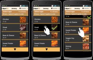 Screen captures of BurriTO app